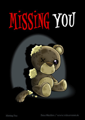 Cartoon: Missing You (medium) by volkertoons tagged grußkarte,karte,comic,cartoon,volkertoons,postkarte,greeting,card,bär,baer,teddy,bear,teddybär,spielzeug,toy,pet,plüschtier,kuscheltier,stofftier,kaputt,damaged,out,of,order,tot,dead,einsamkeit,allein,alleinsein,loneliness,lonely,alone,traurig,sad