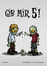 Cartoon: Gib mir 5! (small) by volkertoons tagged volkertoons cartoon zombies untote undead humor lustig spaß fun funny grußkarte postkarte karte greeting card