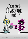 Cartoon: You are flashing me! (small) by volkertoons tagged volkertoons cartoon außerirdischer alien laser invasion humor lustig spaß fun funny grußkarte postkarte karte greeting card