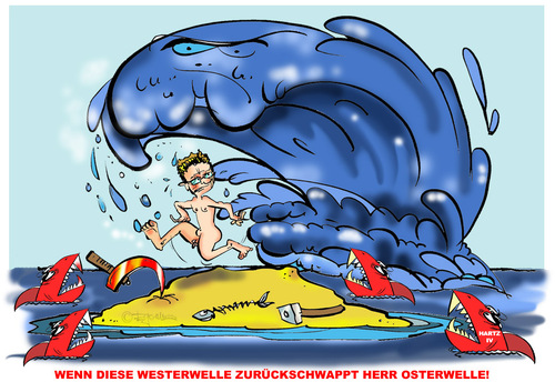 Cartoon: Die Westerwelle schlägt Ostwär (medium) by cartoonist_egon tagged westerwelle,hai,hartziv,politik,fdp