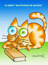 Cartoon: Ne kitapsiz ne kedisiz (small) by halisdokgoz tagged book,cat