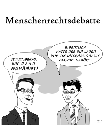 Cartoon: Menschenrechtsdebatte (medium) by Tricomix tagged menschenrechte,gericht,terror,laden,bin,osamar,fdp,cdu,bundestag,bundestag,cdu,fdp,osama bin laden,terror,gericht,osama,bin,laden