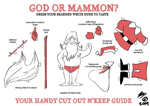 Cartoon: God or Mammon (medium) by pinkhalf tagged cartoon,christmas,santa,claus,god