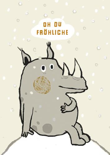 Cartoon: Oh du Fröhliche (medium) by judith tagged nashorn,rhino,animals,tiere,tierisch,winter,weihnachten