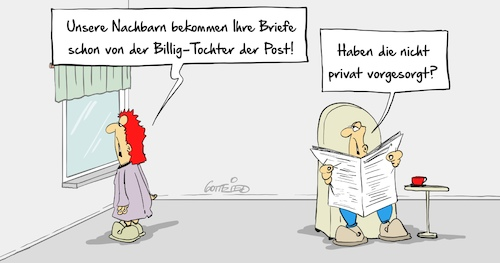 Cartoon: Billigtochter (medium) by Marcus Gottfried tagged post,dhl,delivery,billig,lohn,gewerkschaften,lohndumping,mindestlohn,konkurrenz,nachbarn,vorsorge,privat,marcus,gottfried,cartoon,karikatur,post,dhl,delivery,billig,lohn,gewerkschaften,lohndumping,mindestlohn,konkurrenz,nachbarn,vorsorge,privat,marcus,gottfried,cartoon,karikatur