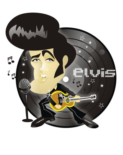 Cartoon: Elvis Presley (medium) by Nicoleta Ionescu tagged elvis,presley,music,king,rock,and,roll