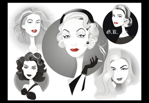 Cartoon: Golden Age Glamour Collage (medium) by Nicoleta Ionescu tagged ava,gardner,catherine,deneuve,marlene,dietrich,veronica,lake,grace,kelly,golden,age,glamour,hollywood,movie,act,actress,beauty
