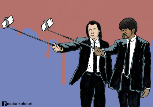 Cartoon: Pulp fiction selfie (medium) by matan_kohn tagged pulp,fiction,quentin,tarantino,john,travolta,samuel,jackson,movie,movies,film,funny,cricature,actor,cinma,mobail,phone,selfie,selfiestick,suit,blood