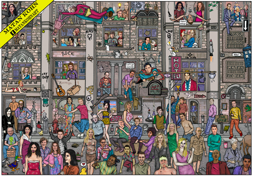 Cartoon: The hall of fame (medium) by matan_kohn tagged jerry,seinfeld,cameron,diaz,ellen,degeneres,robin,williams,macfarlane,seth,the,simpsons,matt,groening,howard,stern,woody,allen,bill,cosby,murray,michael,cera,sarah,silverman,sacha,baron,cohen,mr,bean,jim,carrey,conan,obrien,billy,cristal,matan,kohn,funny,caricature,street,benny,hill,john,cleese,details,illustration,justin,timberlake,jackson,johnny,depp,tim,burton,channing,tatum,keanu,reeves,james,franco,cary,grant,tom,cruise,daniel,radcliffe,harrison,ford,sean,connery,dean,marlon,brando,will,smith,damon,leonardo,dicaprio,orlando,bloom,angelina,jolie,winona,ryder,liv,tyler,julia,roberts,movie,film,robbin,wiliams,moon,dvd,cinema,music,stars,paul,mccartney,whitney,houston,amy,winehouse,line,dion,janet,tina,turner,beyonce,diana,ross,elvis,presley,britney,spears,stevie,wonder,eminem,christina,aguilera,qween,chaplin,woodi,ellan,madonna,cruse,homer,simpson,edgar,pou,rabin,lionardo,de,vinchi,herzel,shakspir,opra,lennon,cannedy,spilberg,dianna,gandi,mccarthny,beatles