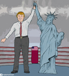 Cartoon: He won we lost (small) by matan_kohn tagged clinton,trump,history,america,elections,funny,matan,kohn,libery,sad,lost,boxing