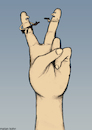 Cartoon: Make love not war (small) by matan_kohn tagged peace,love,war,politics,funny,finger