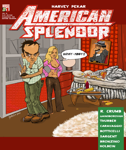 Cartoon: American Splendor fantasy cover (medium) by frostyhut tagged ketchup,mustard,noguchi,records,bed,crumb,hotdog,americansplendor,boobs,girl,pekar