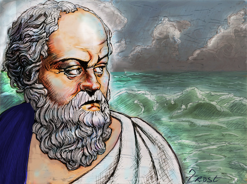 Cartoon: Socrates at at the Ocean (medium) by frostyhut tagged socrates,classical,sage,elder,man,old,sea,ocean,waves,clouds,water,at