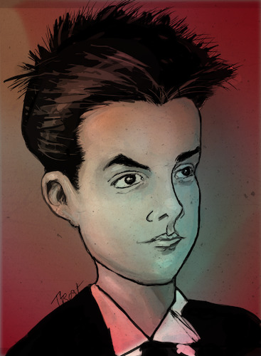 Cartoon: YOUNG BELA BARTOK (medium) by frostyhut tagged composer,classical,hungarian,musician,piano,orchestra