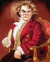Cartoon: Beethoven in Chair with Quill (small) by frostyhut tagged beethoven classical composer hair genius hero german music conductor symphony orchestra sonata chambermusic famous jacket 19thcentury