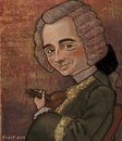 Cartoon: Jean-Jacques de Mondonville (small) by frostyhut tagged baroque,composer,french,male,wig,violin