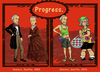 Cartoon: Progress (small) by frostyhut tagged clothes historical vintage seniors nineteenthcentury reticule tourists shorts sandals socks fannypack visor