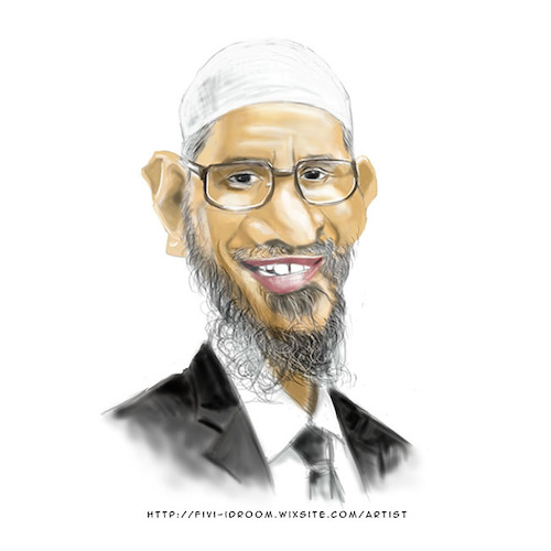 Cartoon: Dr. Zakir Naik (medium) by Fivi tagged lecture,famousperson,islamicmotivator