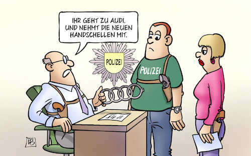 Cartoon: Audi-Handschellen (medium) by Harm Bengen tagged audi,handschellen,abgasskandal,verhaftungen,automobilindustrie,polizei,harm,bengen,cartoon,karikatur,audi,handschellen,abgasskandal,verhaftungen,automobilindustrie,polizei,harm,bengen,cartoon,karikatur