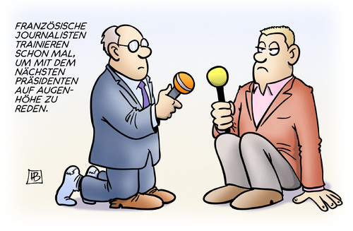 Cartoon: Augenhöhe mit Sarkozy (medium) by Harm Bengen tagged augenhöhe,sarkozy,frankreich,wahl,journalisten,interview,trainieren,praesident,reden,harm,bengen,cartoon,karikatur,augenhöhe,sarkozy,frankreich,wahl,journalisten,interview,trainieren,praesident,reden,harm,bengen,cartoon,karikatur