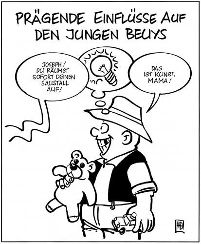 Cartoon: Beuys als Kind (medium) by Harm Bengen tagged