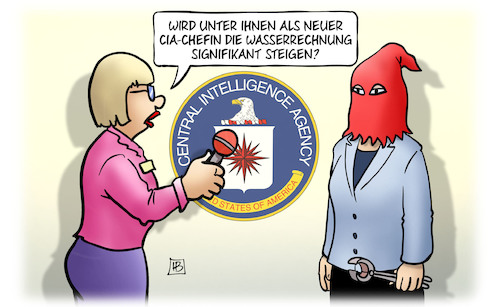 Cartoon: CIA-Chefin Haspel (medium) by Harm Bengen tagged cia,chefin,haspel,wasserrechnung,waterboarding,folter,usa,interview,harm,bengen,cartoon,karikatur,cia,chefin,haspel,wasserrechnung,waterboarding,folter,usa,interview,harm,bengen,cartoon,karikatur