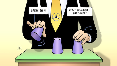 Cartoon: Daimler-Schummelsoftware (medium) by Harm Bengen tagged daimler,schummelsoftware,kraftfahrtbundesamt,dieselskandal,mercedes,hütchenspieler,betrug,harm,bengen,cartoon,karikatur,daimler,schummelsoftware,kraftfahrtbundesamt,dieselskandal,mercedes,hütchenspieler,betrug,harm,bengen,cartoon,karikatur