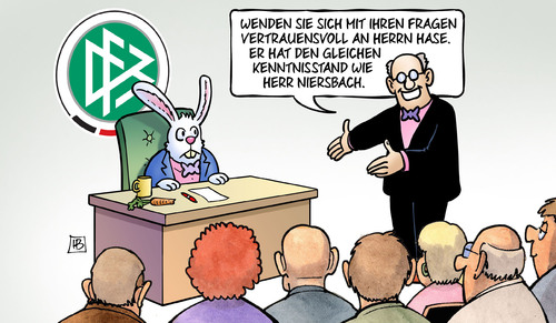 Cartoon: DFB-Hase (medium) by Harm Bengen tagged dfb,fragen,fussball,hase,kenntnisstand,niersbach,wm,2006,korruption,bestechung,harm,bengen,cartoon,karikatur,dfb,fragen,fussball,hase,kenntnisstand,niersbach,wm,2006,korruption,bestechung,harm,bengen,cartoon,karikatur