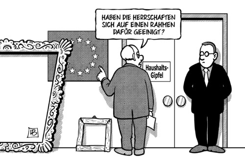 Cartoon: EU-Rahmen (medium) by Harm Bengen tagged eu,europa,gipfel,finanzrahmen,billion,rahmen,haushalt,streit,geld,harm,bengen,cartoon,karikatur