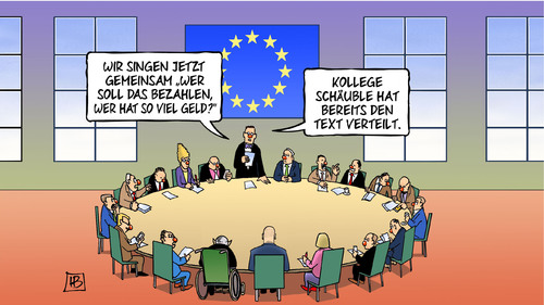 Cartoon: Euro-Fasching (medium) by Harm Bengen tagged eu,euro,europa,schäuble,lied,singen,pappnase,text,rosenmontag,griechischer,finanzminister,varoufakis,griechenland,wahl,karneval,fasching,harm,bengen,cartoon,karikatur,eu,euro,europa,schäuble,lied,singen,pappnase,text,rosenmontag,griechischer,finanzminister,varoufakis,griechenland,wahl,karneval,fasching,harm,bengen,cartoon,karikatur