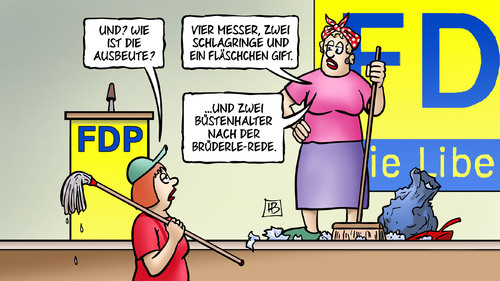 Cartoon: FDP-Ausbeute (medium) by Harm Bengen tagged dirndl,rösler,brüderle,sexismus,bh,büstenhalter,parteitag,fdp,wahlen,streit,intrige,gift,schlagringe,messer,ausbeute,karikatur,cartoon,bengen,harm,putzfrauen,rede,ausbeute,messer,schlagringe,gift,intrige,streit,wahlen,fdp,parteitag,büstenhalter,bh,sexismus,brüderle,rösler,dirndl,rede,putzfrauen,harm,bengen,cartoon,karikatur