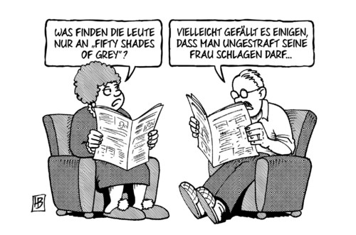 Cartoon: Fifty Shades of Grey (medium) by Harm Bengen tagged fifty,shades,grey,film,buch,hype,medien,sm,bdsm,frau,schlagen,harm,bengen,cartoon,karikatur