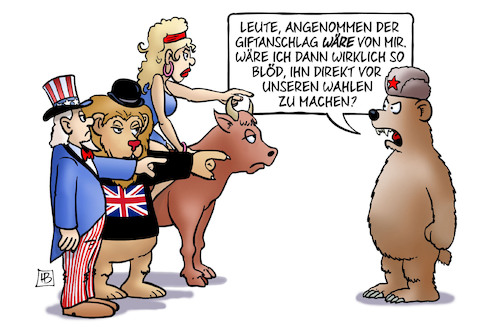 Cartoon: Giftanschlag (medium) by Harm Bengen tagged giftanschlag,wahlen,russland,usa,gb,uk,europa,uncle,sam,bär,löwe,stier,schuldzuweisung,harm,bengen,cartoon,karikatur,giftanschlag,wahlen,russland,usa,gb,uk,europa,uncle,sam,bär,löwe,stier,schuldzuweisung,harm,bengen,cartoon,karikatur