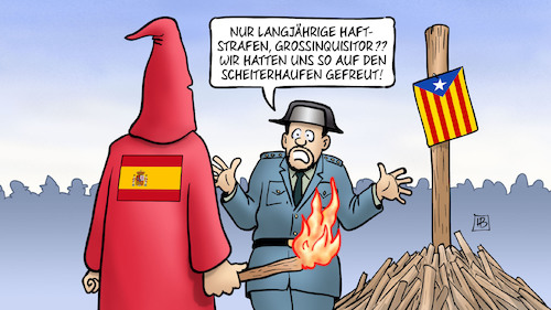 Cartoon: Katalonien-Urteile (medium) by Harm Bengen tagged katalonien,katalonen,unabhaengigkeit,prozesse,madrid,barcelona,urteile,haftstrafen,grossinquisitor,spanien,spanische,inquisition,scheiterhaufen,harm,bengen,cartoon,karikatur,katalonien,katalonen,unabhaengigkeit,prozesse,madrid,barcelona,urteile,haftstrafen,grossinquisitor,spanien,spanische,inquisition,scheiterhaufen,harm,bengen,cartoon,karikatur