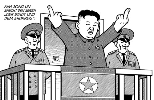 Cartoon: Kim-Segen (medium) by Harm Bengen tagged kim,jong,un,nordkorea,südkorea,krieg,provokation,manöver,raketen,atomwaffen,test,usa,obama,segen,vatikan,kirche,urbi,et,orbi,harm,bengen,cartoon,karikatur