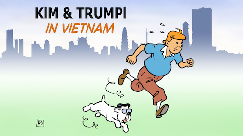 Cartoon: Kim und Trumpi (medium) by Harm Bengen tagged kim,trumpi,tim,struppi,herge,comic,vietnam,usa,nordkorea,trump,harm,bengen,cartoon,karikatur,kim,trumpi,tim,struppi,herge,comic,vietnam,usa,nordkorea,trump,harm,bengen,cartoon,karikatur