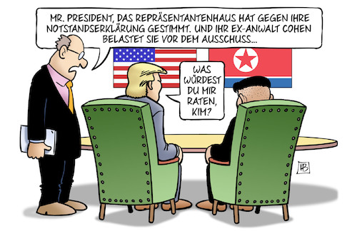 Cartoon: Kims Rat (medium) by Harm Bengen tagged president,repräsentantenhaus,notstandserklärung,anwalt,cohen,ausschuss,kim,jong,un,trump,treffen,nordkorea,usa,vietnam,harm,bengen,cartoon,karikatur,president,repräsentantenhaus,notstandserklärung,anwalt,cohen,ausschuss,kim,jong,un,trump,treffen,nordkorea,usa,vietnam,harm,bengen,cartoon,karikatur