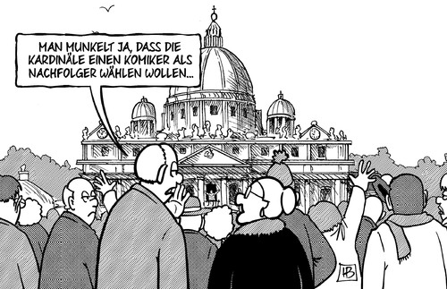Cartoon: Komiker (medium) by Harm Bengen tagged komiker,grillo,wahl,kardinäle,papst,rücktritt,benedikt,ratzinger,gesundheit,alter,katholische,kirche,rom,harm,bengen,cartoon,karikatur