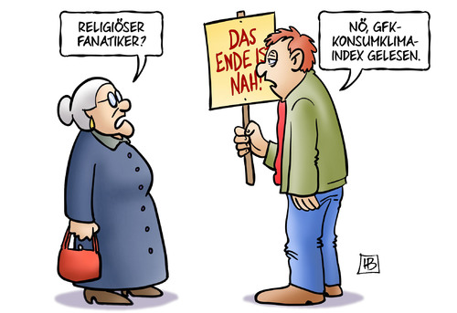 Cartoon: Konsumklimaindex (medium) by Harm Bengen tagged religion,spinner,fanatiker,weltuntergang,gfk,konsumklimaindex,konsumklima,konsum,klima,harm,bengen,cartoon,karikatur,religion,spinner,fanatiker,weltuntergang,gfk,konsumklimaindex,konsumklima,konsum,klima,harm,bengen,cartoon,karikatur