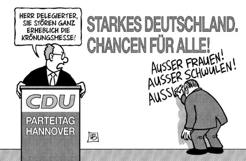 Cartoon: Krönungsmesse (medium) by Harm Bengen tagged krönungsmesse,cdu,parteitag,hannover,chancen,frauen,schwule,frauenquote,steuergleichheit,streit,merkel,kanzlerin,harm,bengen,cartoon,karikatur