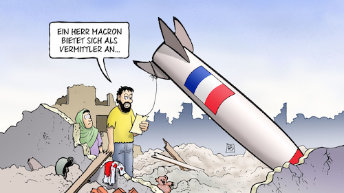 Cartoon: Macron-Angebot (medium) by Harm Bengen tagged macron,frankreich,syrien,raketen,bombardierung,vermittler,diplomatie,trümmer,brief,harm,bengen,cartoon,karikatur,macron,frankreich,syrien,raketen,bombardierung,vermittler,diplomatie,trümmer,brief,harm,bengen,cartoon,karikatur