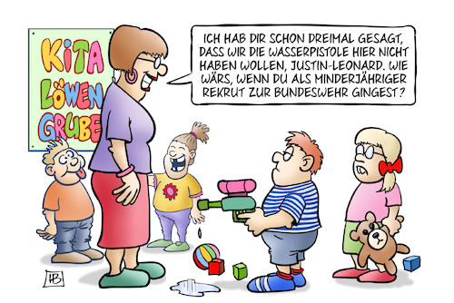 Cartoon: Minderjährige Rekruten (medium) by Harm Bengen tagged wasserpistole,bundeswehr,kita,minderjährige,rekruten,kindersoldaten,harm,bengen,cartoon,karikatur,wasserpistole,bundeswehr,kita,minderjährige,rekruten,kindersoldaten,harm,bengen,cartoon,karikatur