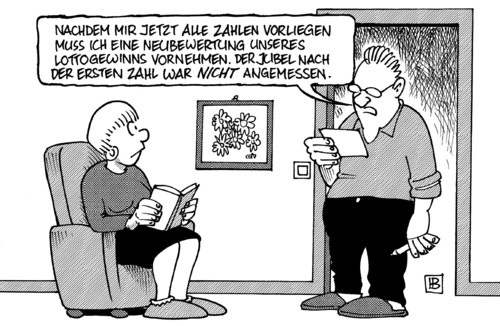 Cartoon: Neubewertung (medium) by Harm Bengen tagged neubewertung,guttenberg,verteidigungsminister,afghanistan,tankwagenbombardement,tankwagen,bundestag,untersuchungsausschuß,lotto,zahlen