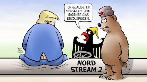 Cartoon: Nord-Stream-2-Sanktionen (medium) by Harm Bengen tagged nord,stream,sanktionen,deutschland,usa,russland,gas,pipeline,bär,bundesadler,trump,einspeisung,fracking,erpressung,harm,bengen,cartoon,karikatur,nord,stream,sanktionen,deutschland,usa,russland,gas,pipeline,bär,bundesadler,trump,einspeisung,fracking,erpressung,harm,bengen,cartoon,karikatur