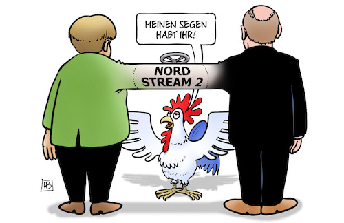 Cartoon: Nord Stream 2-Segen (medium) by Harm Bengen tagged segen,nord,stream,pipeline,merkel,putin,deutschland,russland,gazprom,gas,gallischer,hahn,frankreich,harm,bengen,cartoon,karikatur,segen,nord,stream,pipeline,merkel,putin,deutschland,russland,gazprom,gas,gallischer,hahn,frankreich,harm,bengen,cartoon,karikatur