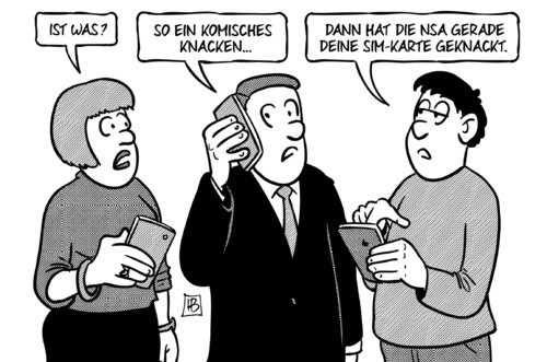 Cartoon: NSA-Knacken (medium) by Harm Bengen tagged nsa,abhoeren,knacken,simkarte,sim,geheimdienst,snowden,handy,harm,bengen,cartoon,karikatur