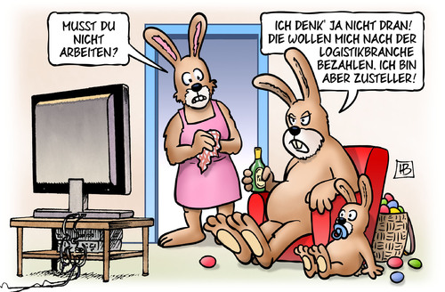 Cartoon: Oster-Zusteller (medium) by Harm Bengen tagged arbeiten,streik,logistikbranche,zusteller,amazon,dhl,post,ostern,osterhase,tv,kind,eier,fest,harm,bengen,cartoon,karikatur,arbeiten,streik,logistikbranche,zusteller,amazon,dhl,post,ostern,osterhase,tv,kind,eier,fest,harm,bengen,cartoon,karikatur