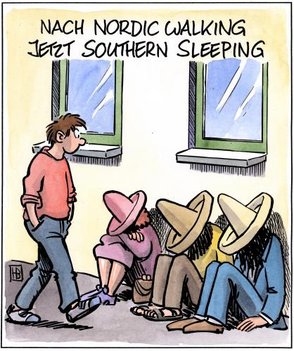 Cartoon: Southern Sleeping (medium) by Harm Bengen tagged nordic walking,sport,fitness,trend,schlafen,süden,norden,himmelsrichtung,erholung,pause,laufen,nickerchen,siesta,mexiko,sombrero,nordic,walking