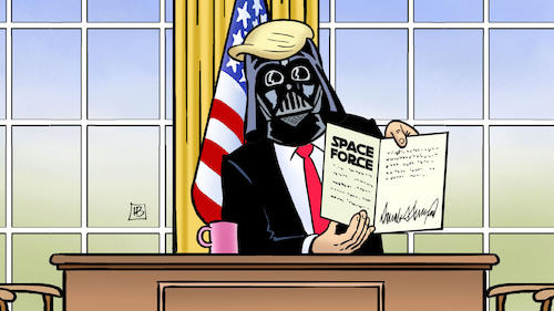 Cartoon: Space-Force-Dekret (medium) by Harm Bengen tagged space,force,dekret,trump,usa,weltraumkrieg,starwars,darth,vader,harm,bengen,cartoon,karikatur,space,force,dekret,trump,usa,weltraumkrieg,starwars,darth,vader,harm,bengen,cartoon,karikatur