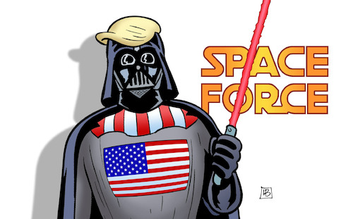 Cartoon: Space Force (medium) by Harm Bengen tagged space,force,starwars,trump,darth,vader,krieg,weltraum,weltall,harm,bengen,cartoon,karikatur,space,force,starwars,trump,darth,vader,krieg,weltraum,weltall,harm,bengen,cartoon,karikatur